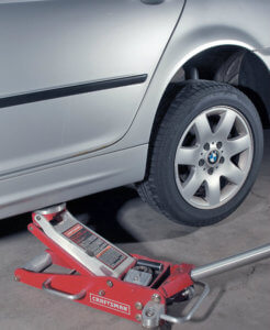 Place the jack under the jack point to begin lifting your vehicle.