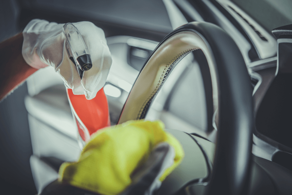 Remove Excess Dirt And Stains on Steering Wheel