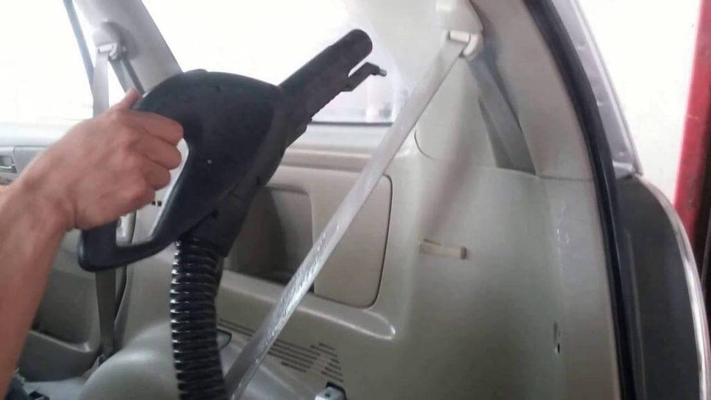 Use steam cleaner on the seatbelt after cleaning with soap