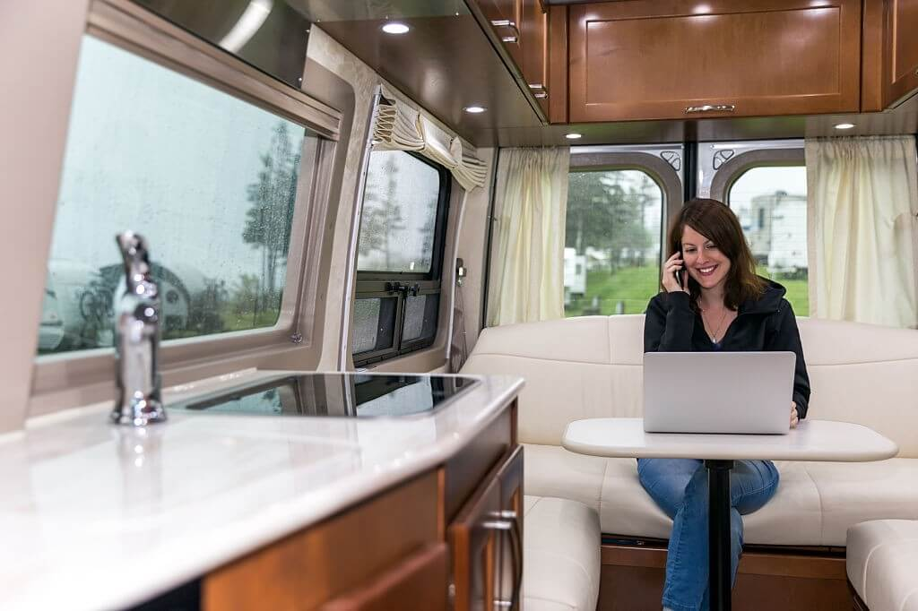 Inside a luxury RV on a campground